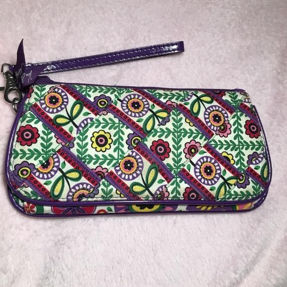 Vera Bradley Handbags - Vera Bradley Trifold Wallet (Purple and Green)
